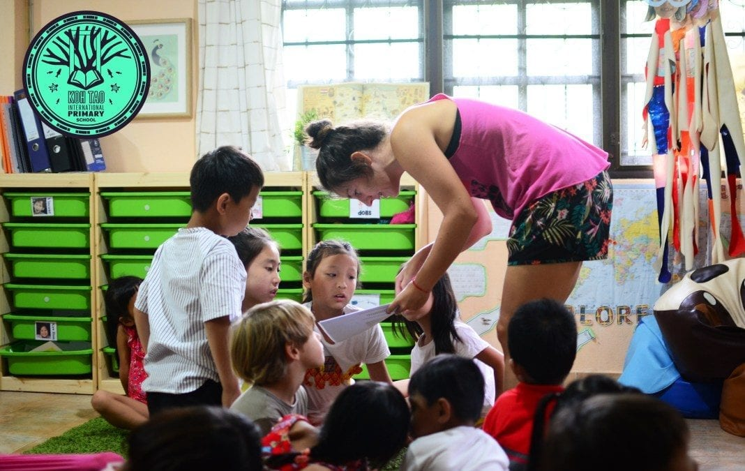 Chinese Tourist Children Love Learning on Koh Tao